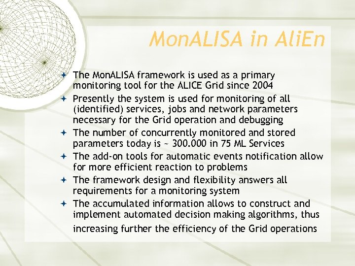 Mon. ALISA in Ali. En The Mon. ALISA framework is used as a primary