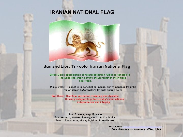 IRANIAN NATIONAL FLAG Sun and Lion, Tri- color Iranian National Flag Green Color: appreciation