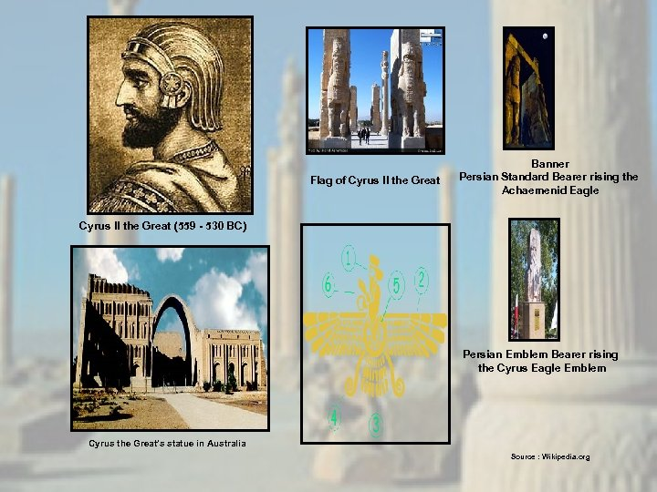 Flag of Cyrus II the Great Banner Persian Standard Bearer rising the Achaemenid Eagle