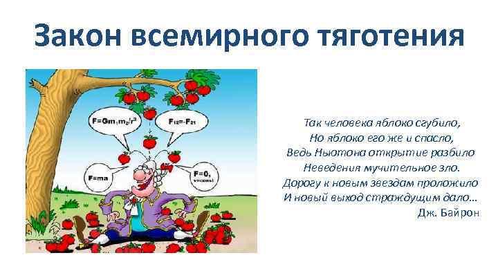 Закон всемирного тяготения Так человека яблоко сгубило, Но яблоко его же и спасло, Ведь