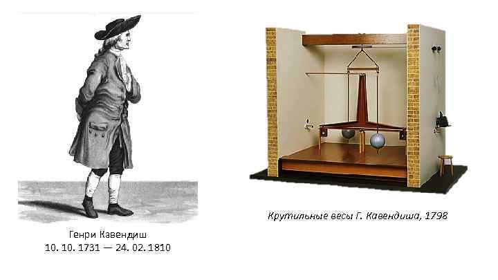 Крутильные весы Г. Кавендиша, 1798 Генри Кавендиш 10. 1731 — 24. 02. 1810