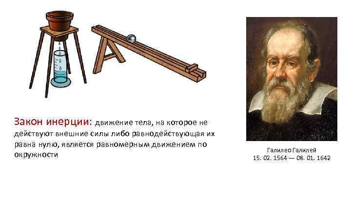 Закон инерции: движение тела, на которое не действуют внешние силы либо равнодействующая их равна