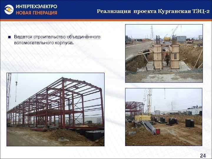 Реализация проекта Курганская ТЭЦ-2 ■ Ведется строительство объединённого вспомогательного корпуса. 24