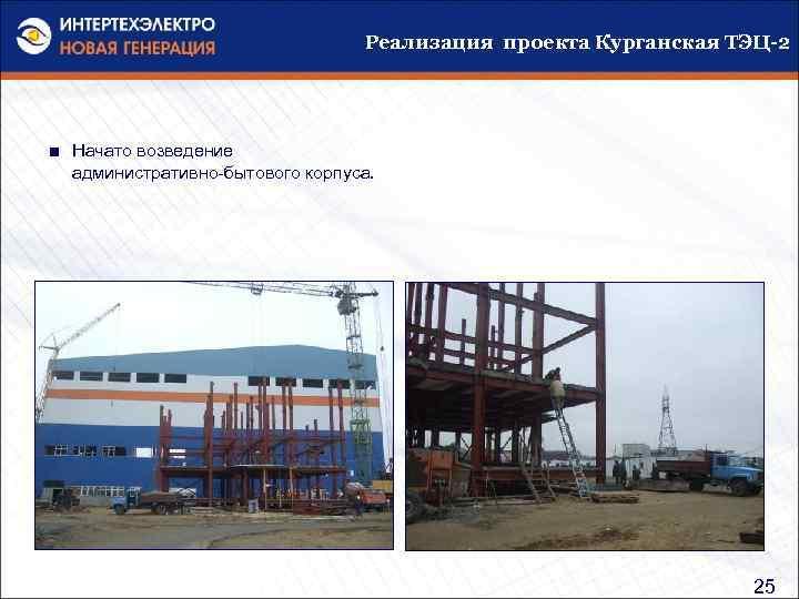 Реализация проекта Курганская ТЭЦ-2 ■ Начато возведение административно-бытового корпуса. 25