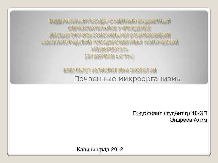 Почвенные микроорганизмы Подготовил студент гр. 10 -ЭП Эндреев Алим Калининград 2012