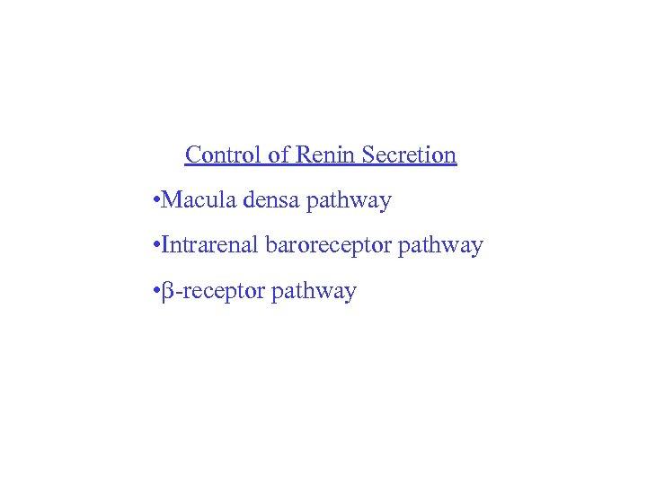 Control of Renin Secretion • Macula densa pathway • Intrarenal baroreceptor pathway • -receptor