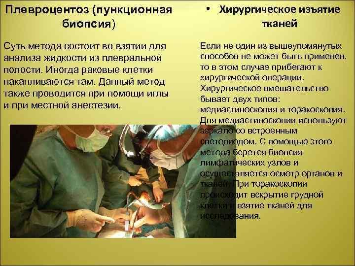 Плевроцентоз (пункционная биопсия) • Хирургическое изъятие тканей Суть метода состоит во взятии для анализа