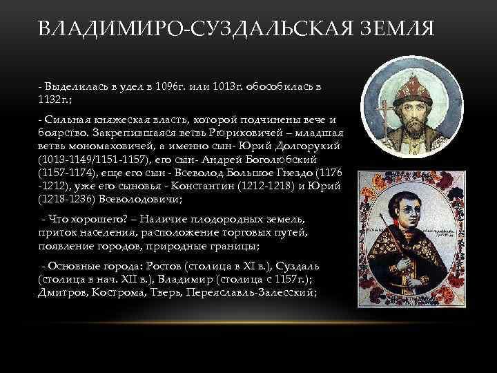 ВЛАДИМИРО-СУЗДАЛЬСКАЯ ЗЕМЛЯ - Выделилась в удел в 1096 г. или 1013 г. обособилась в