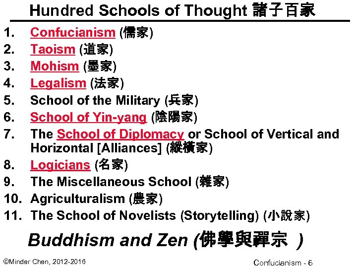 Hundred Schools of Thought 諸子百家 1. 2. 3. 4. 5. 6. 7. Confucianism (儒家)