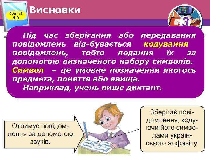 Розділ 2 § 6 Висновки 3 Під час зберігання або передавання повідомлень від бувається
