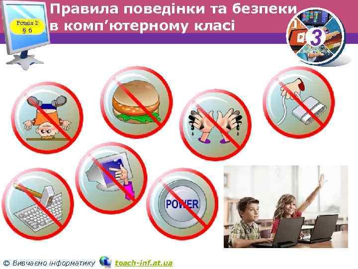 Розділ 2 § 6 Правила поведінки та безпеки в комп'ютерному класі © Вивчаємо інформатику
