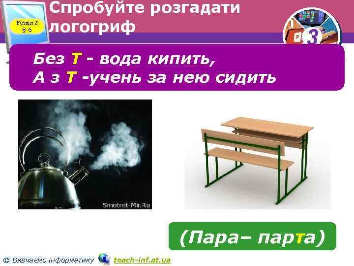 Розділ 2 § 6 Спробуйте розгадати логогриф Без Т вода кипить, А з Т
