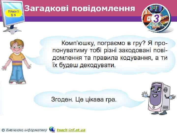 Розділ 2 § 6 Загадкові повідомлення © Вивчаємо інформатику teach inf. at. ua 3