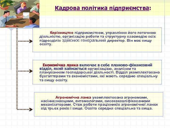 Кадрова політика підприємства: Керівництво підприємством, управління його поточною діяльністю, організацію роботи та структурну взаємодію