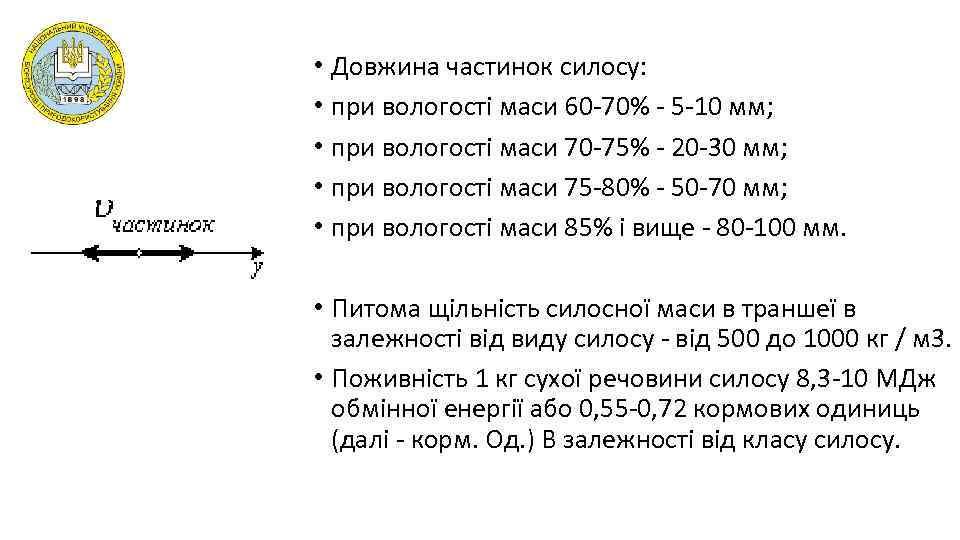 • Довжина частинок силосу: • при вологості маси 60 -70% - 5 -10
