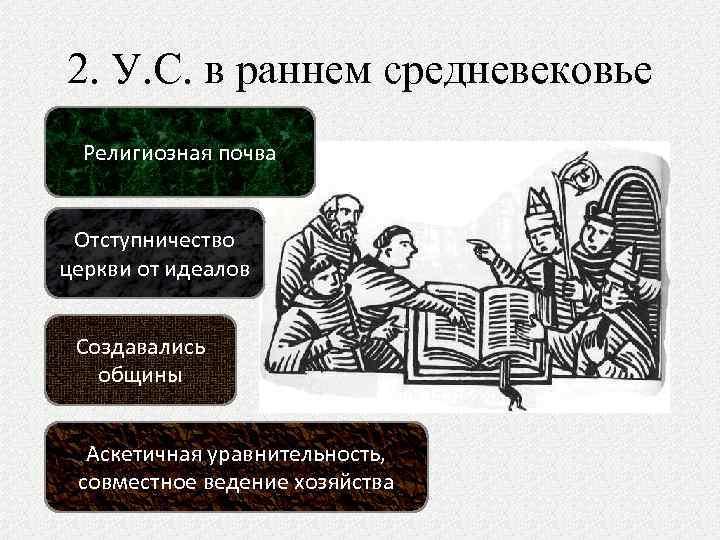 2. У. С. в раннем средневековье Религиозная почва Отступничество церкви от идеалов Создавались общины
