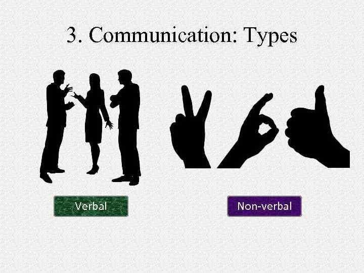 3. Communication: Types Verbal Non-verbal