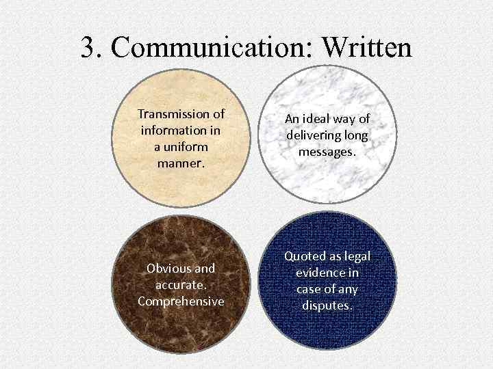 3. Communication: Written Transmission of information in a uniform manner. An ideal way of