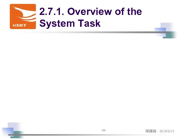 2. 7. 1. Overview of the System Task 100 陳鍾誠 - 2018/3/15