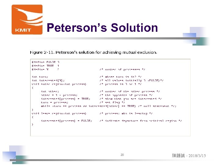 Peterson's Solution 20 陳鍾誠 - 2018/3/15