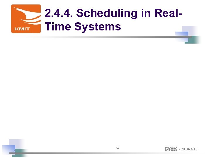 2. 4. 4. Scheduling in Real. Time Systems 54 陳鍾誠 - 2018/3/15