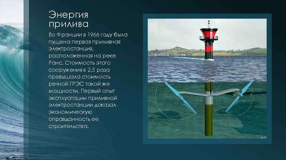 Энергия прилива Во Франции в 1966 году была пущена первая приливная электростанция, расположенная на