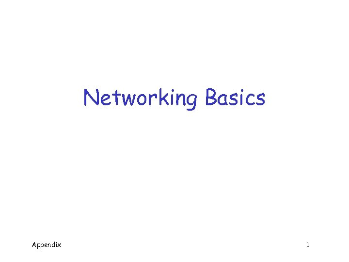 Networking Basics Appendix 1