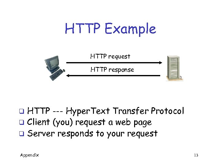 HTTP Example HTTP request HTTP response HTTP --- Hyper. Text Transfer Protocol q Client