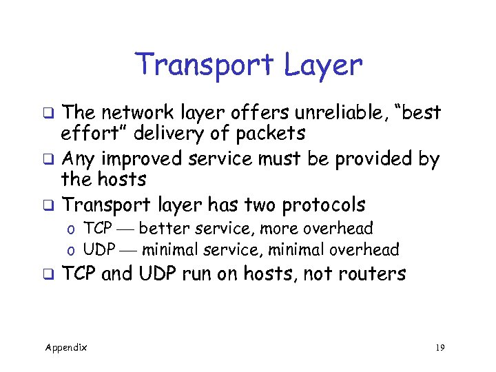 "Transport Layer The network layer offers unreliable, ""best effort"" delivery of packets q Any"