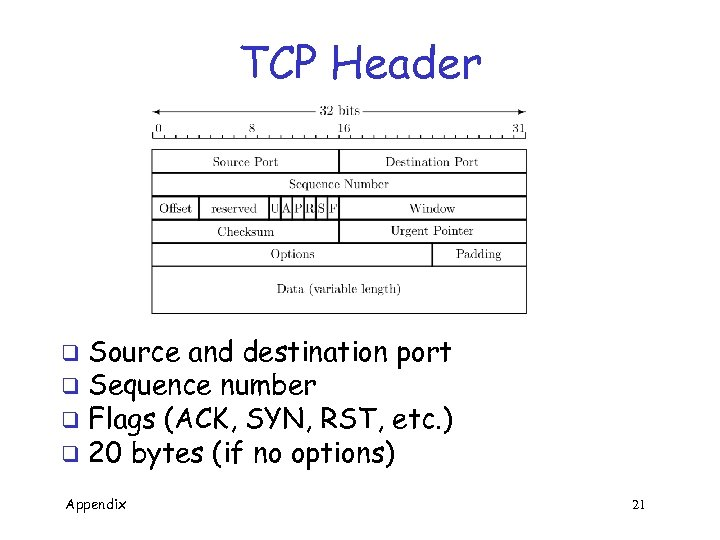 TCP Header Source and destination port q Sequence number q Flags (ACK, SYN, RST,