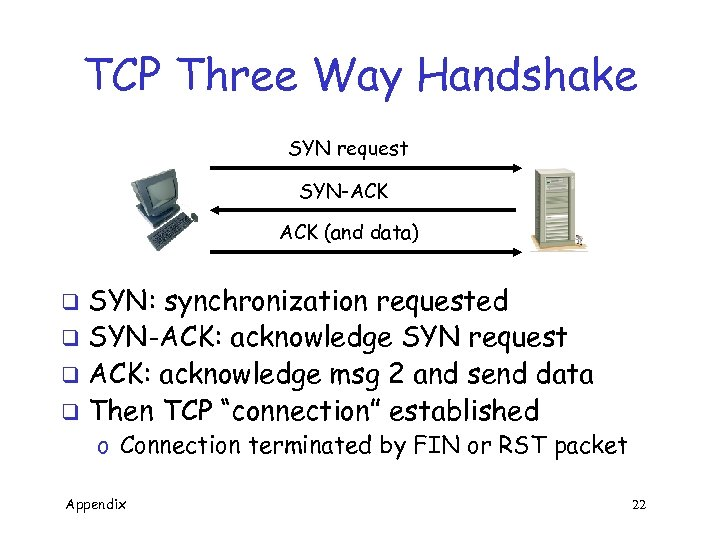 TCP Three Way Handshake SYN request SYN-ACK (and data) SYN: synchronization requested q SYN-ACK: