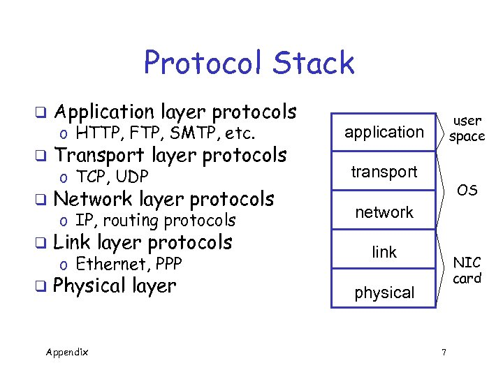 Protocol Stack q q Application layer protocols o HTTP, FTP, SMTP, etc. Transport layer