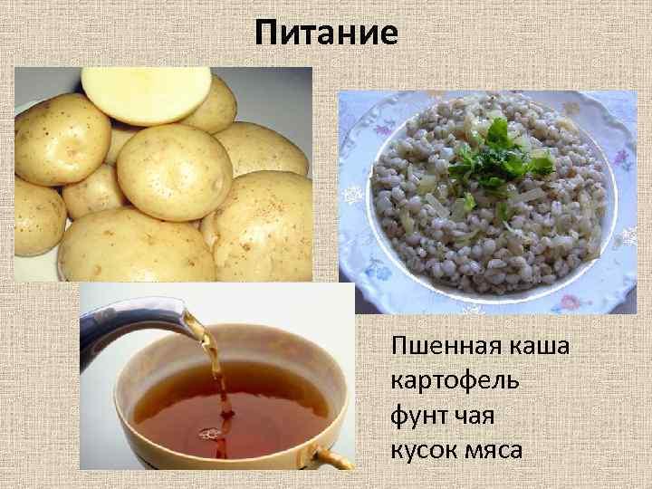 Питание Пшенная каша картофель фунт чая кусок мяса