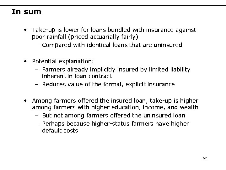 In sum • Take-up is lower for loans bundled with insurance against poor rainfall