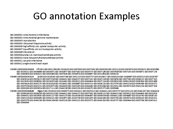 GO annotation Examples GO: 0000001 mitochondrion inheritance GO: 0000002 mitochondrial genome maintenance GO: 0000003
