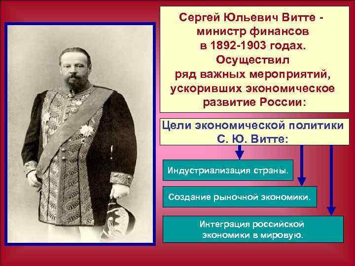 Сергей Юльевич Витте министр финансов в 1892 1903 годах. Осуществил ряд важных мероприятий, ускоривших