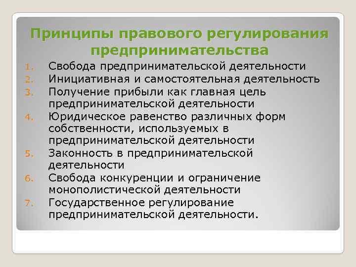 Принципы правового регулирования предпринимательства 1. 2. 3. 4. 5. 6. 7. Свобода предпринимательской деятельности