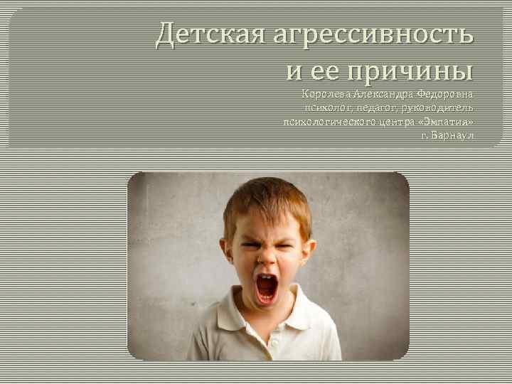 Детская агрессивность и ее причины Королева Александра Федоровна психолог, педагог, руководитель психологического центра «Эмпатия»