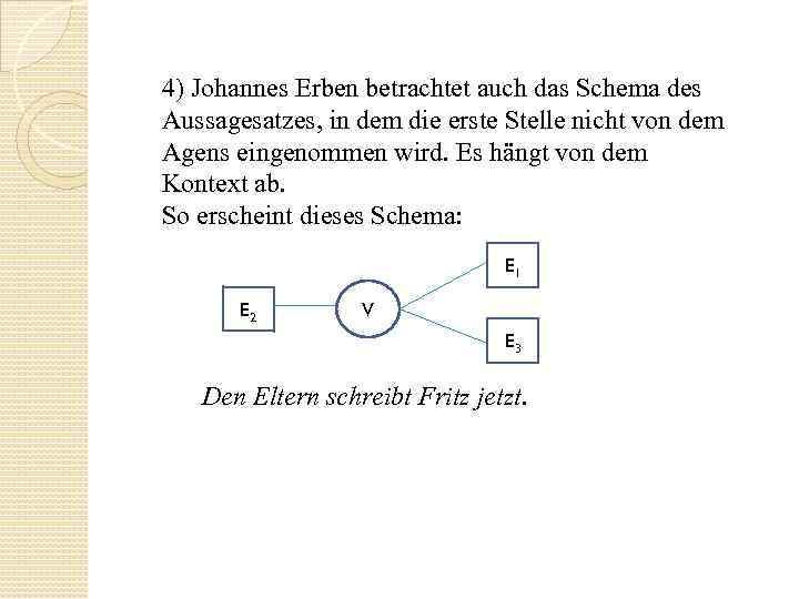 4) Johannes Erben betrachtet auch das Schema des Aussagesatzes, in dem die erste Stelle