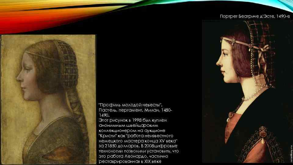 Портрет Беатриче д'Эсте, 1490 -е