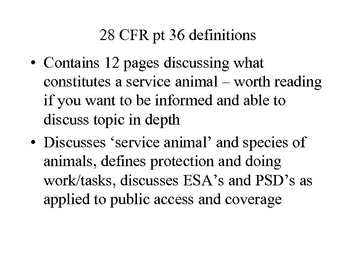28 CFR pt 36 definitions • Contains 12 pages discussing what constitutes a service