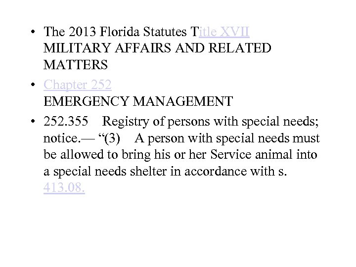 • The 2013 Florida Statutes Title XVII MILITARY AFFAIRS AND RELATED MATTERS •