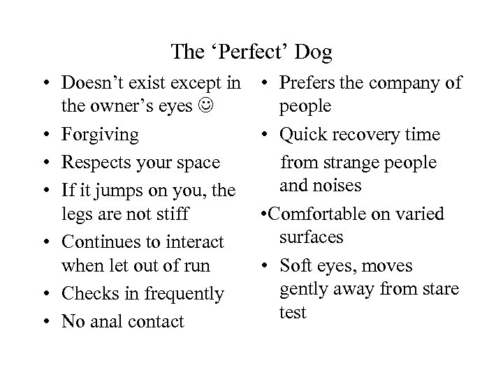 The 'Perfect' Dog • Doesn't exist except in the owner's eyes • Forgiving •