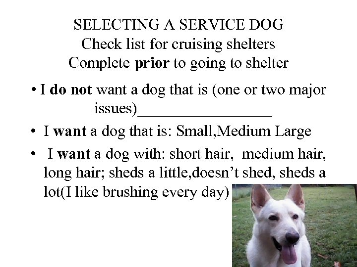 SELECTING A SERVICE DOG Check list for cruising shelters Complete prior to going to