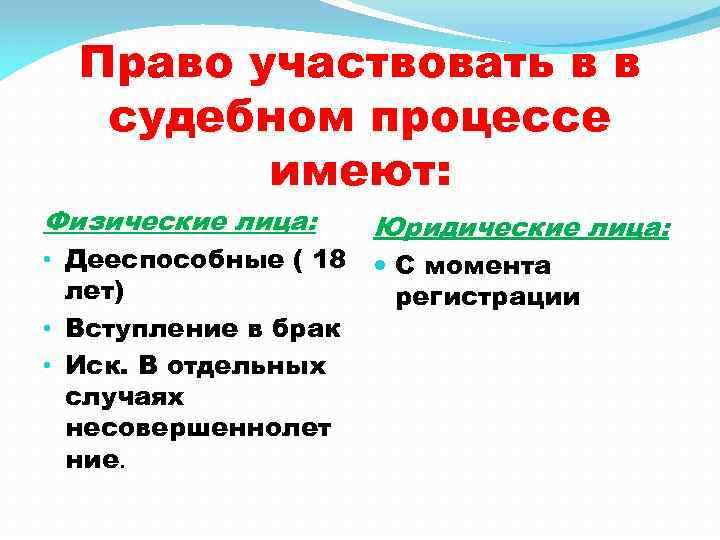 Право участвовать в в судебном процессе имеют: Физические лица: • Дееспособные ( 18 лет)