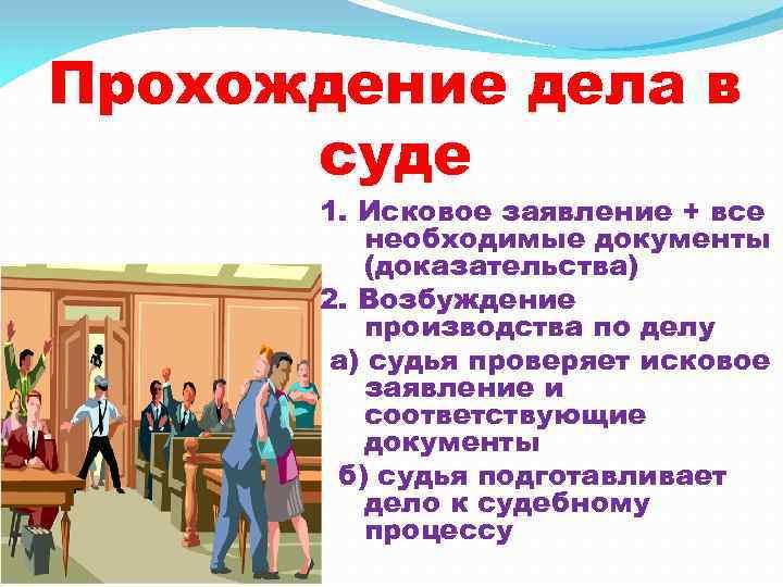 Прохождение дела в суде 1. Исковое заявление + все необходимые документы (доказательства) 2. Возбуждение