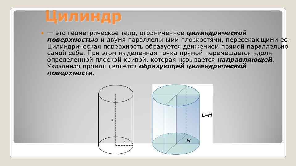 Цилиндр — это геометрическое тело, ограниченное цилиндрической поверхностью и двумя параллельными плоскостями, пересекающими ее.