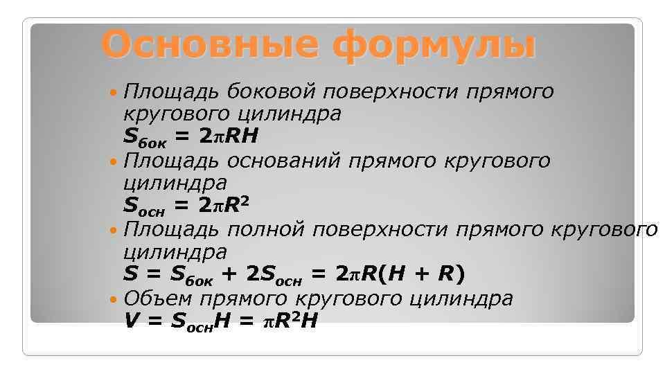 Основные формулы Площадь боковой поверхности прямого кругового цилиндра Sбок = 2πRH Площадь оснований прямого