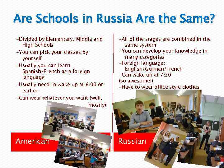 Are Schools in Russia Are the Same? -Divided by Elementary, Middle and High Schools