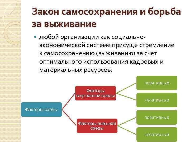 Закон самосохранения и борьба за выживание любой организации как социальноэкономической системе присуще стремление к